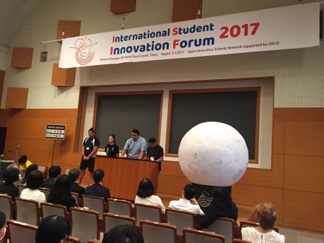 P4Y Vision 2030 New Zealand team presenting at the International Student Innovation Forum, organized by the Innovative Schools Network (INS) in Tokyo
